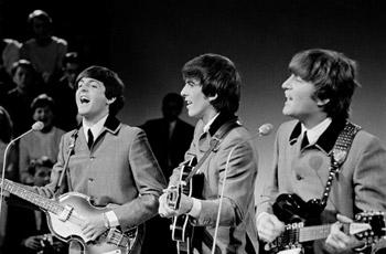 The Beatles: Paul, George und John im Jahr 1964