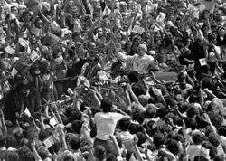 Papst Paul Johannes II. bei seinem Besuch in Polen im Jahr 1979